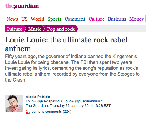 The Guardian on LOUIE LOUIE!