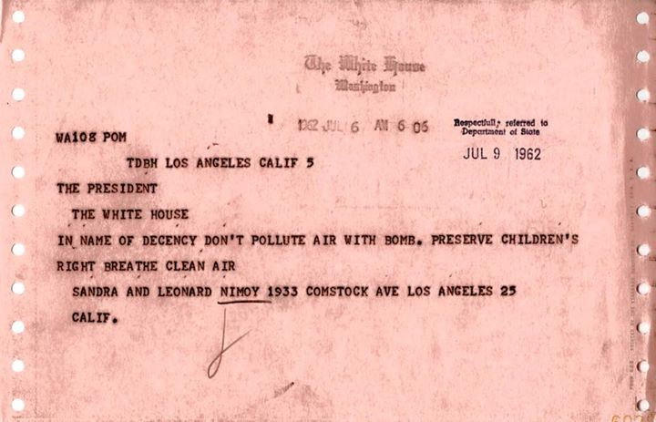 telegram to JFK from Nimoy