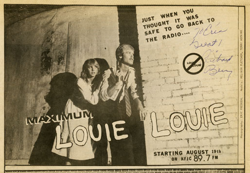 advertisement for KFJC Maximum LOUIE LOUIE marathon